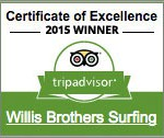 Willis Bros. Surfing 2015 TripAdvisor Certificate of Excellence